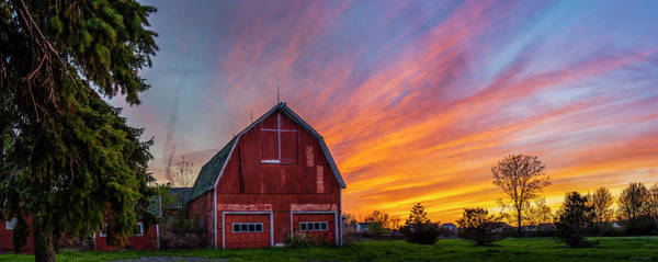 Photograph - Red Barn At Sunset by Mark Papke