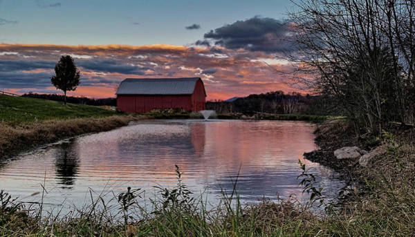 Photograph - Red Barn Country Living Sunset  by Lara Ellis