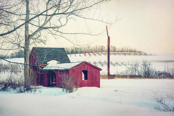 Wall Art - Photograph - Red Barn In Snow - Farmhouse Art by Joann Vitali