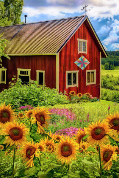 Photograph - Red Barn In Summer Sunflowers Painting by Debra and Dave Vanderlaan