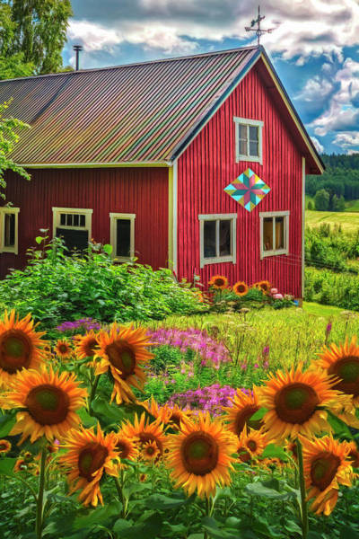Wall Art - Photograph - Red Barn In Summer Sunflowers Watercolor Painting  by Debra and Dave Vanderlaan