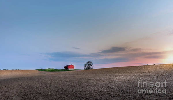 Photograph - Red Barn In The Countryside On A Maryland Farm At Sunset by Patrick Wolf