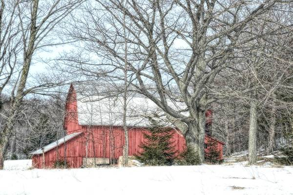 Wall Art - Photograph - Red Barn In Winter by Toni Abdnour