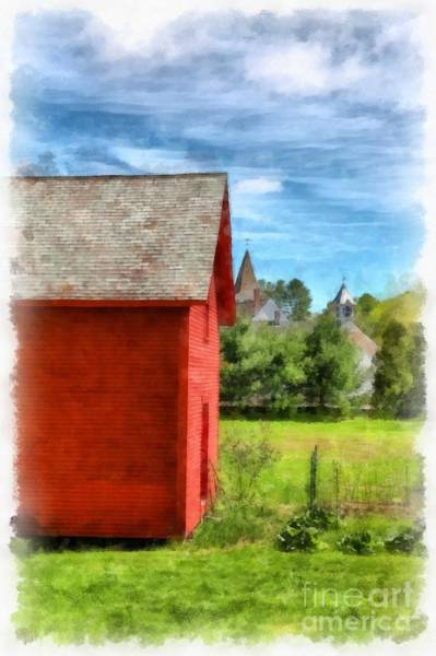 Wall Art - Digital Art - Red Barn New Boston New Hampshire Watercolor by Edward Fielding