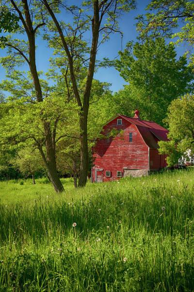 Wall Art - Photograph - Red Barn On Vermont Farm by Joann Vitali