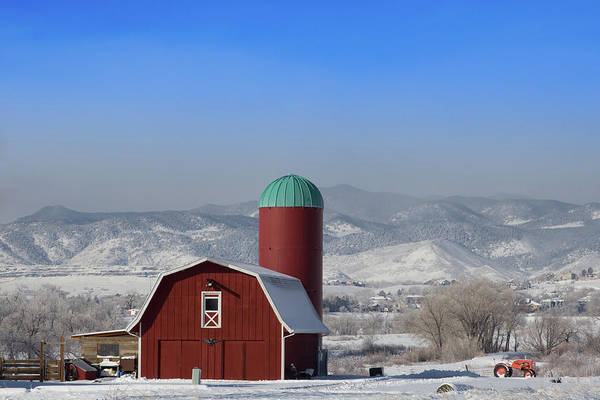 Wall Art - Photograph - Red Barn, Silo And The Orange Tractor by Bridget Calip