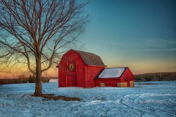 Photograph - Red Barn Sunset In Winter by Joann Vitali