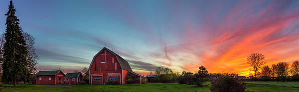 Photograph - Red Barn Sunset Panorama by Mark Papke