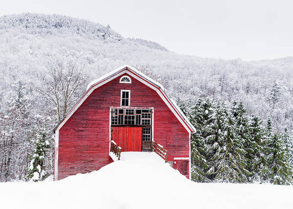 Wall Art - Photograph - Red Barn White Hill by Michael Blanchette