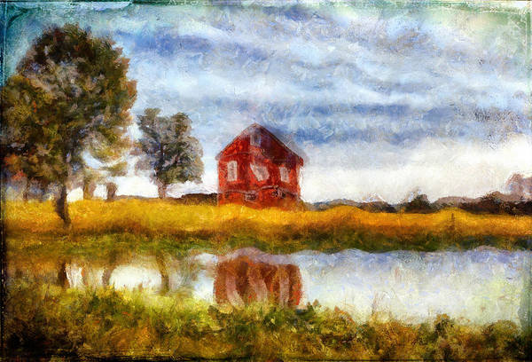 Photograph - Red Barn With Pond by Bellesouth Studio
