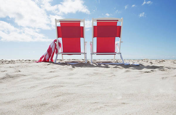 Side-by-side Photograph - Red Beach Chairs by Nine Ok