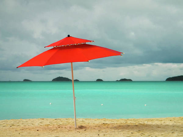 Wall Art - Photograph - Red Beach Umbrella In The Caribbean by Photo By Sam Scholes