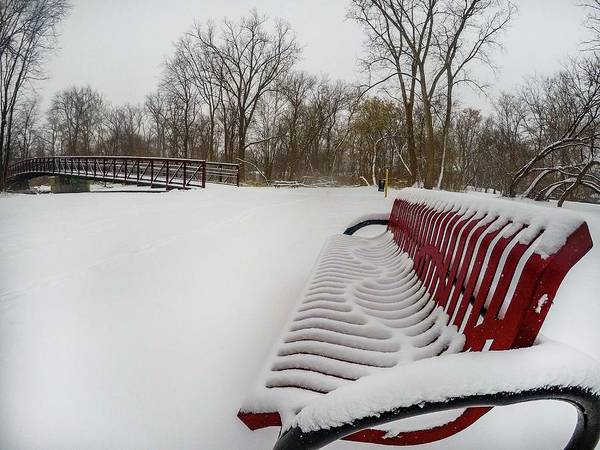 Digital Art - Red Bench In The Snow G0903432 by Michael Thomas