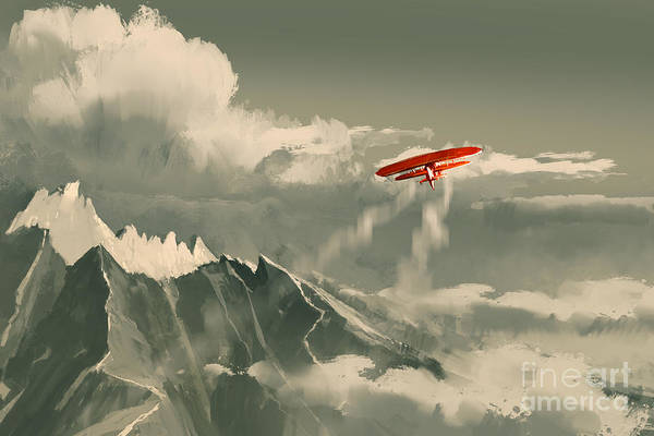 Wall Art - Digital Art - Red Biplane Flying Over by Tithi Luadthong