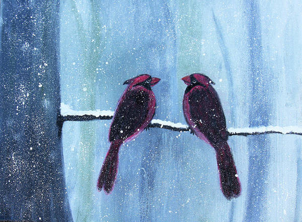 Painting - Red Birds In Winter by Kimberley Dietrich