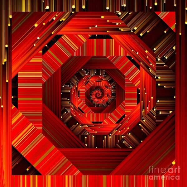 Digital Art - Red Black And Gold Spiral Quantum Mechanics  by Rachel Hannah