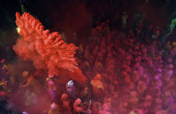 Holi Photograph - Red Blast L Holi, Barsana by Suman Das