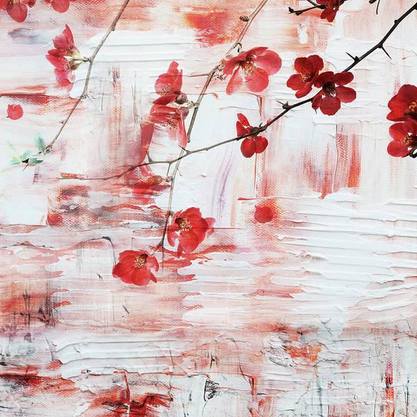 Wall Art - Mixed Media - Red Blossom by Jacky Gerritsen