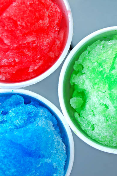 Side-by-side Photograph - Red, Blue, And Green Snow Cones by Jay B Sauceda