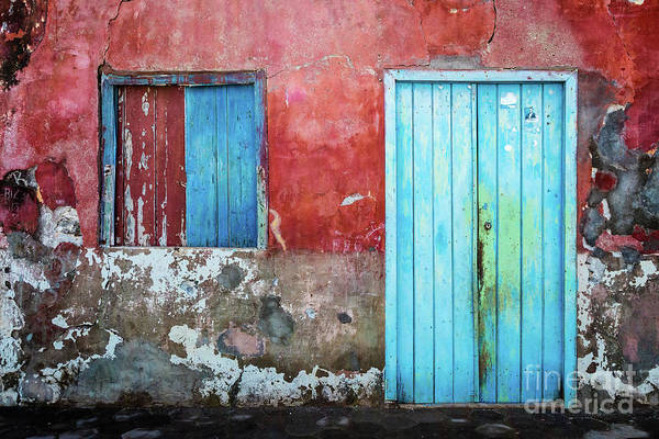 Photograph - Red, Blue And Grey Wall, Door And Window by Lyl Dil Creations