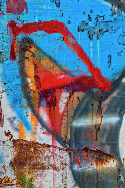 Wall Art - Mixed Media - Red Blue Graffiti Abstract by Carol Leigh