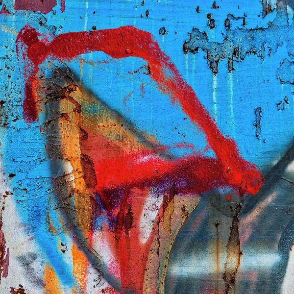 Wall Art - Mixed Media - Red Blue Graffiti Abstract Square 1 by Carol Leigh