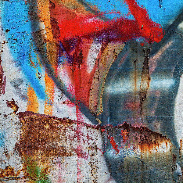 Wall Art - Mixed Media - Red Blue Graffiti Abstract Square 2 by Carol Leigh