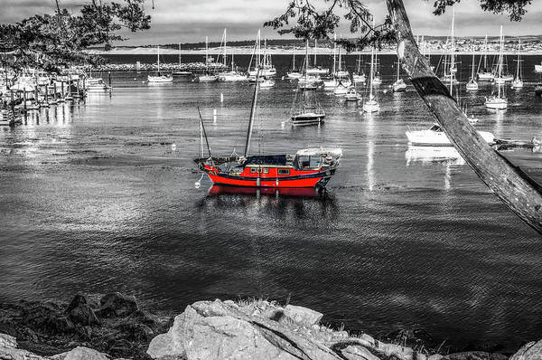 Monterey Bay Photograph - Red Boat Monterey by Joseph S Giacalone