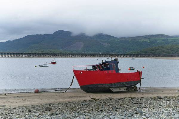 Barmouth Photograph - Red Boat On The Barmouth Beach by Rawshutterbug
