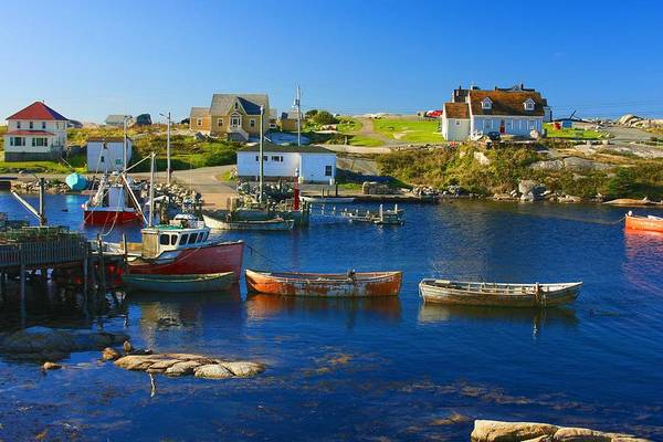 Photograph - Red Boats In Peggys Cove Nova Scotia by Tatiana Travelways