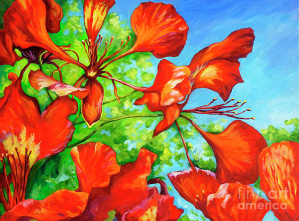Wall Art - Painting - Red Bracts On A Royal Poinciana by John Clark