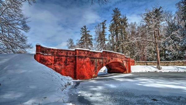 Photograph - Red Brick Iconic Bridge Covered In Snow by Carol Montoya