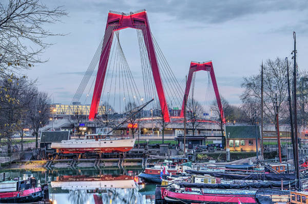Photograph - Red Bridge And Old Harbour by Frans Blok