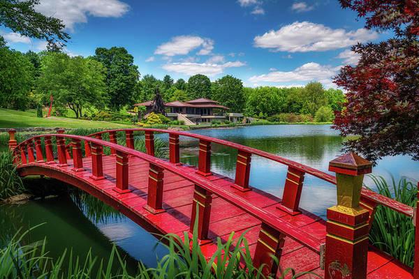 Garden Path Photograph - Red Bridge At The Lake House by Tom Mc Nemar