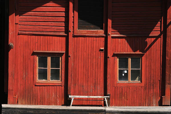 Log House Photograph - Red Building by Fotosearch