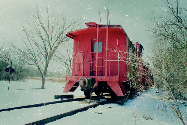 Red Caboose Photograph - Red Caboose On Track With In Snow by Straublund Photography