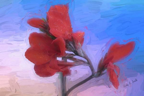 Digital Art - Red Canna  Flower. by Rusty R Smith