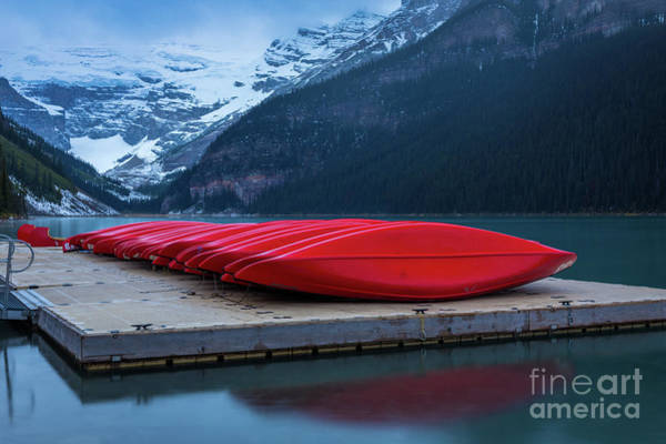 Wall Art - Photograph - Red Canoes On The Dock by Inge Johnsson