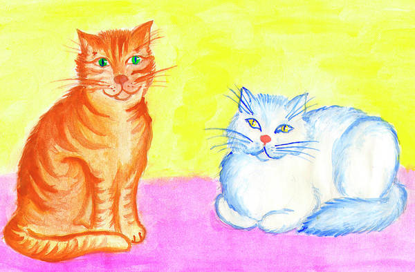 Painting - Red Cat And White Cat by Irina Dobrotsvet