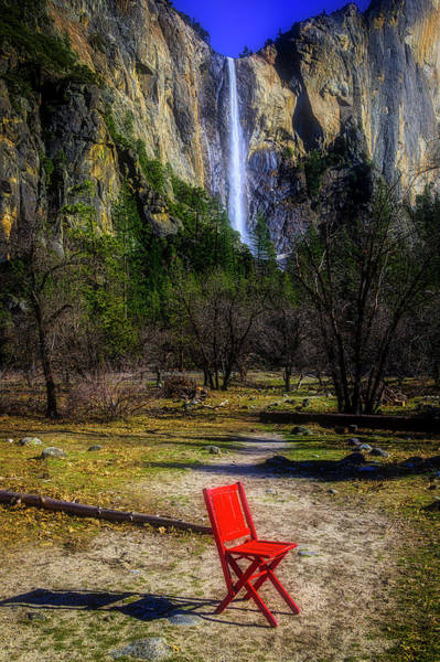 Wall Art - Photograph - Red Chair At Bridalveil Fall by Garry Gay