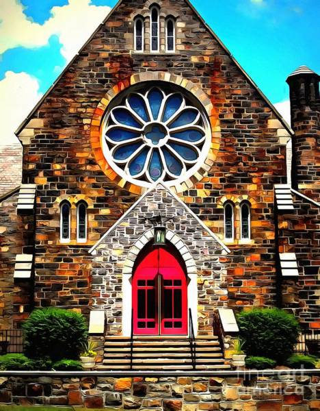 Poconos Wall Art - Photograph - Red Church Door Bethlehem Pa by Janine Riley