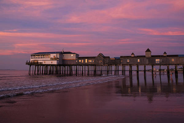 Wall Art - Photograph - Red Clouds Over The Old Orchard Beach Pier Sunrise by Toby McGuire