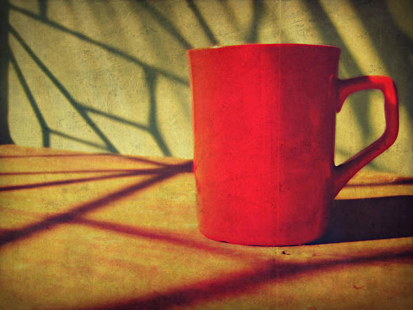 Sunlight Photograph - Red Coffee Cup In Sunshine by Jessica Lia
