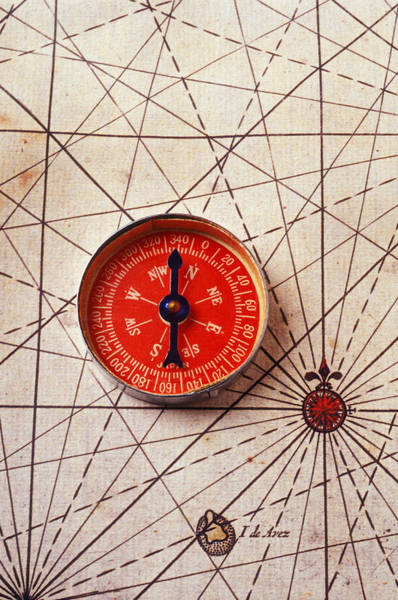 Usa Map Photograph - Red Compass On Old Map by Garry Gay