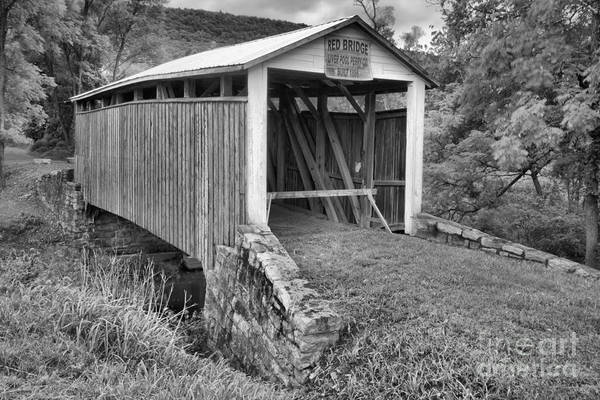 Photograph - Red Covered Bridge Black And White by Adam Jewell