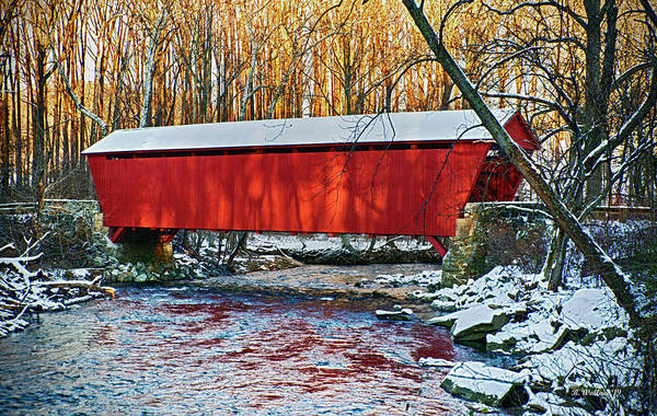 Kingsville Photograph - Red Covered Bridge by Brian Wallace