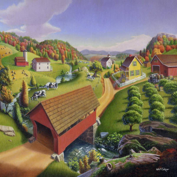Alabama Painting - Red Covered Bridge Country Farm Landscape - Square Format by Walt Curlee