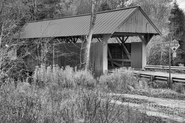 Photograph - Red Covered Bridge In The Brush Black And White by Adam Jewell