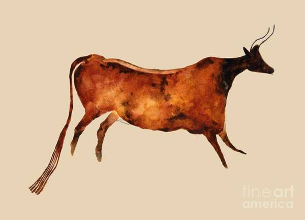 Wall Art - Painting - Red Cow In Beige by Hailey E Herrera