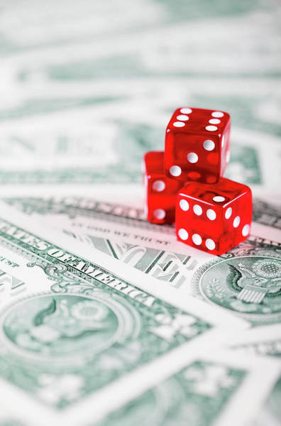 Luck Photograph - Red Dice On Us Dollar Bills by Neil Overy